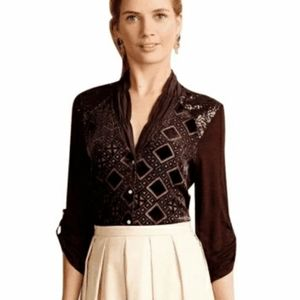 Tiny Anthropologie Blouse Chocolate Size L New